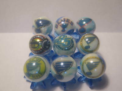ST. LOUIS BLUES NHL HOCKEY MARBLES 5/8 SIZE collection lot with stands