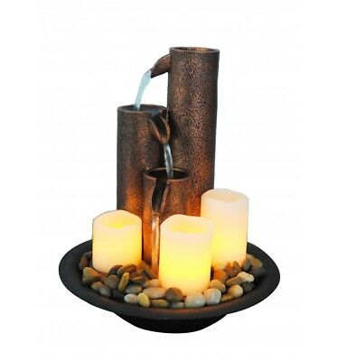 Candle Cascade, Small indoor / Outdoor table top Water fountain water feature