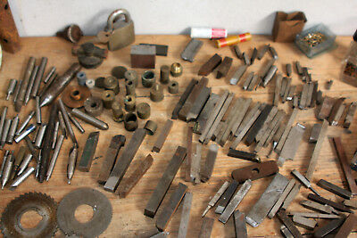Mixed Lot Vintage Metal Machinist Tools Lathe Bits Spanners Cogs Bronze Screws