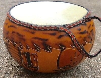 Vintage Native American Indian Handmade Child's Drum Owls Motiff