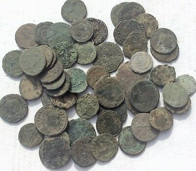 Lot Of 50+ Uncleaned Ancient Roman Bronze Coins, Ae2-3, High Grade Top Quality