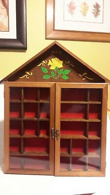 Vintage Wood & Glass Wall Curio Display Case Cabinet Floral Shadow Box