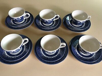 Churchill blue and white c/s/plate trio. six sets