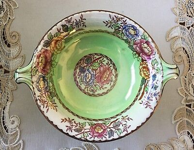 Vintage Maling Newcastle-On-Tyne England Peony Rose Lustre Footed Bowl C1930's