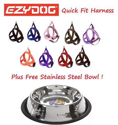 EZYDOG Quick Fit Dog Harness All Colours MEDIUM & Stainless Steel Food Bowl