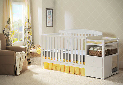4-in-1 Convertible Crib with Changer and Drawers, Toddler Daybed Full White