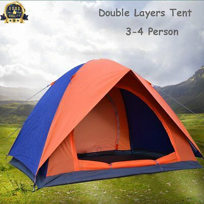 4 Person Waterproof Two Layer Couple Outdoor Hiking Camping Pop Up Folding Tent