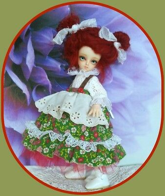 1/6 Bjd doll Austrian Tyrol outfit*red mohair wig*skirt*blouse*hosiery*  NO DOLL