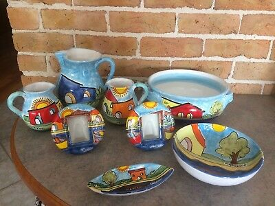 8 NINO PARRUCCA ITALY  Hand Painted Art Pottery