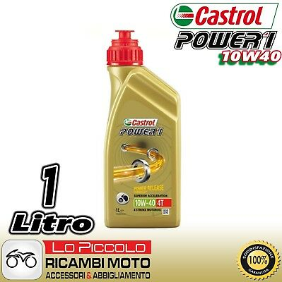 OLIO MOTORE 4T CASTROL POWER 1 RACING 10W40 MOTO 4 TEMPI SCOOTER QUAD 1 Lt