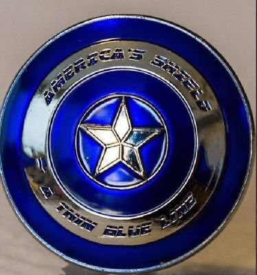 """Best Lots Commemorative """"America's 3-D Shield Blue Line"""" Silver Plated Art Coin"""