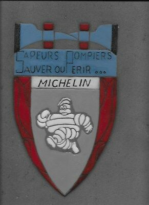 Sapeurs Pompiers Michelin 63 Plaque Emaillee Signee Lave Pierre Volvic