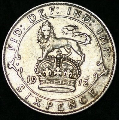 GB GEORGE V SIXPENCE COIN 1912  Good VERY FINE