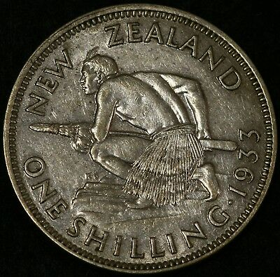 New Zealand - 1933 Shilling King George V - Silver Coin Extra Fine