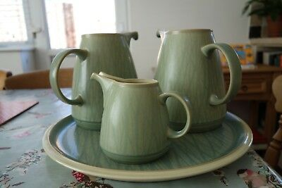 """DENBY """"CALM"""" 3 GREEN JUGs ON TRAY/SERVING PLATE"""