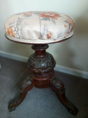 Vintage Round Carved Adjustable Piano Stool