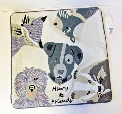 Henry & Friends Animal Embroidered Cushion Cover Home Decor Rose Gold and Silver