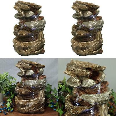 INDOOR WATER Rock Fountain LED Light Tabletop Waterfall Zen Decor ...
