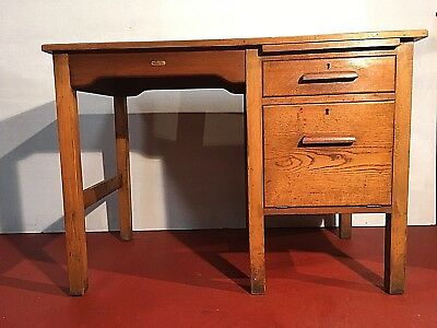 Vintage/industrial Oak Mid-Century Baker'S Of Liverpool Fall Front Desk. 1940/50