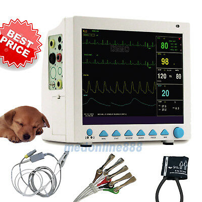 USA Portable Veterinary Patient Monitor ECG NIBP SPO2 PR RESP TEMP CMS8000VET