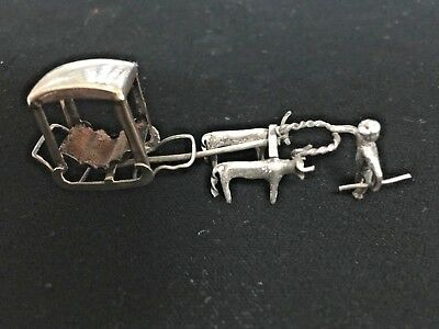 Antique Silver Miniature Oxen and carriage Sleigh foreign