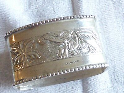Vintage collection antique solid silver elephant napkin ring marked 'St. Silver'
