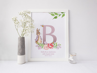 Personalised Peter Rabbit Print For New Baby, Christening Gift, Nursery Pictures