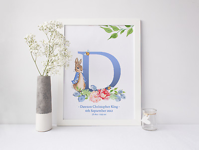 Peter Rabbit Personalised Christening Gift New Baby Beatrix Potter Nursery Print