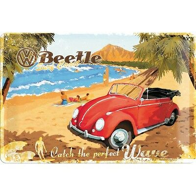 VW Beetle Ready For The Beach Embossed Vintage Retro Metal Tin Sign Garage Decor