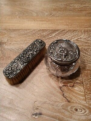 Antique Sterling Silver Brush and Jar Set