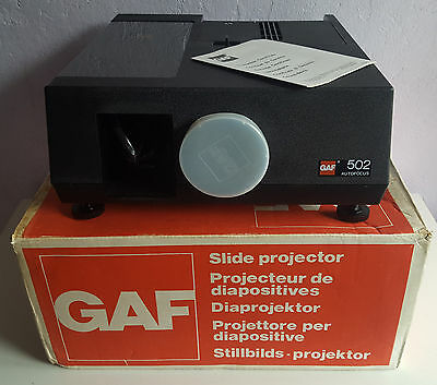 GAF 502 Auto Focus Slide Projector, Boxed.