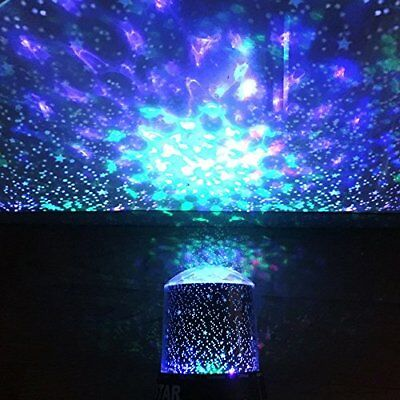 Psychedelic Night Light Starlight Rotating Moon and Star Projector Nightlight WW