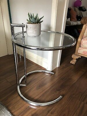 eileen gray look table in chrome and glass, coffee table