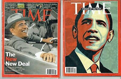 2 x Time Magazines Nov & Dec 2008 - Obama - Person of The Year