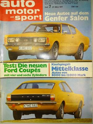 Auto Motor Sport 7 / 71 1971, Renault R 4, Ford Taunus 1600 / 2000 Coupe