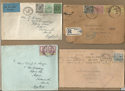 Malaya-Singapore Ph,lot Of 4 G5-G6 Period Covers To Us,reg,franking,censure