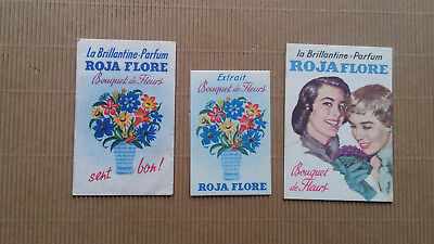 LOT 3 CARTES PARFUMEES  anciennes ROJA FLORE - Brillantine