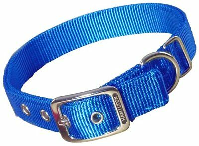 Hamilton Double Thick Nylon Deluxe Dog Collar 1-Inch by 32-Inch Blue