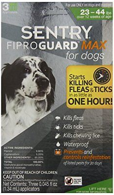 Sentry FiproGuard Max 3 Count Flea and Tick Squeeze-On for Dogs 23 to 44-Pound