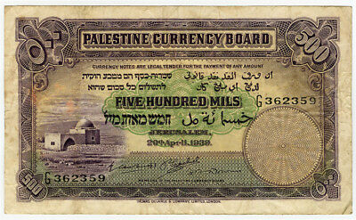 PALESTINE 1939 ISSUE 500 MILS VERY SCARCE BANKNOTE CRISP VF.PICK#6c.