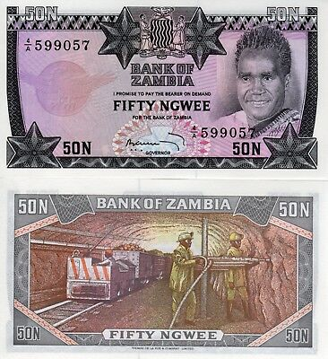 ZAMBIA  50 ngwee  P 14a  1973 -   UNC Africa Banknote
