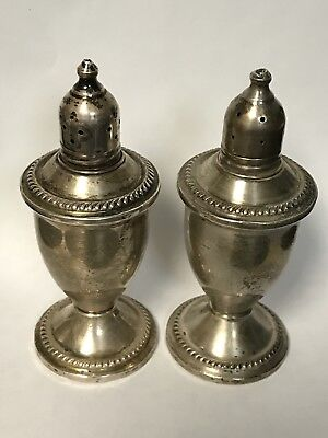 Antique Sterling Silver Weighted Salt and Pepper Shakers Duchin Creation