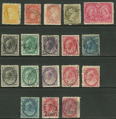 Canada, USED, Selection of Small Queens, Leafs & Numerals with overprints.