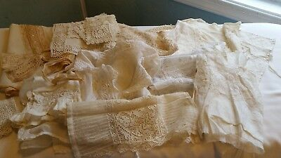 Antique Victorian And Later Lace Dress Fronts, Cami Pc. Collar, And Cuffs