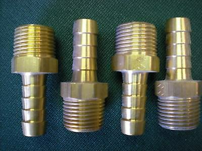 "4 Brass Hose Barb 3/8"" X 3/8"" Male NPT Pipe Thread Hex Fuel Oil Straight Fitting"
