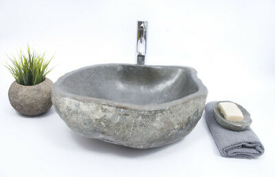 FREE SOAP HOLDER! Unique River Stone RSB2 M  Washbasin Overtop Sink by InduStone