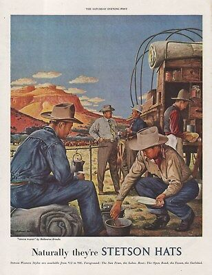 Vintage 1948 STETSON HATS Print Ad Chow Time at the Chuck Wagon