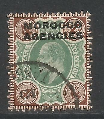 Great Britain 1907-12 Morocco King Edward VII 4p brown & green (204) used