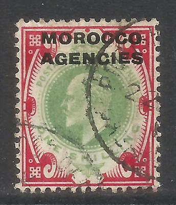 Great Britain 1907-12 Morocco King Edward VII 1sh carm rose & green (207) used