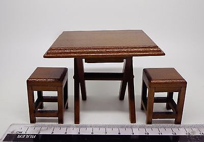 1:12 Scale Wooden Folding Table & Stools Dolls House Miniature Furniture